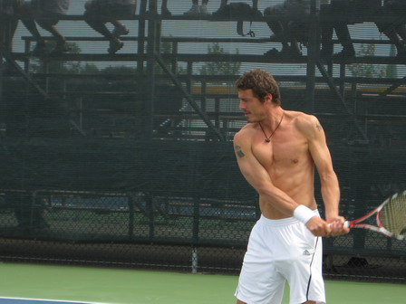 Marat Safin shirtless in Montreal