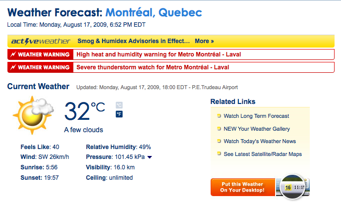 Montreal weather forecast: feels like 40!
