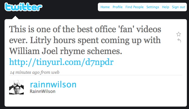 Rainn Wilson Twitter Best Fan Video Ever