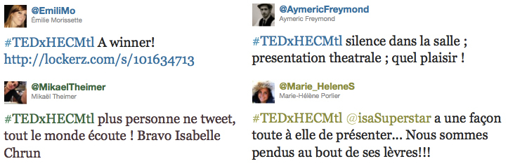 TEDx HEC Montreal - Attention du public sur Isabelle Chrun